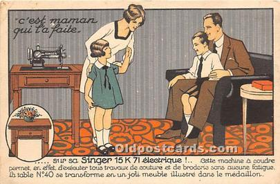 Advertising Postcard - Old Vintage Antique  Singer 15 K 71