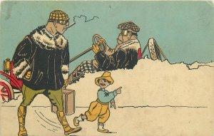 Comic snowed in driver vintage car caricature Postcard