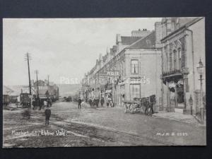 Ebbw Vale, Market Street, shows STEAD & SIMPSON BOOT MARKET, PEGLER shops c1908