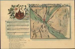 Gruss Aus Rothenburg Germany MAP & Sheet Music c1905 Postcard