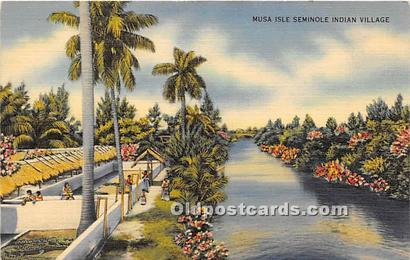 LINEN ERA (1930-1945) Seminole Indians, Florida USA Postcard Musa Isle, India...