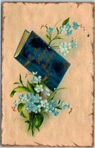 Vintage BIRTHDAY Embossed Greetings Postcard Blue Book / Blue Flowers c1910s