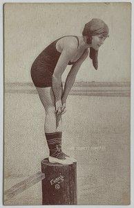 VTG Old Postcard Mack Sennett Comedies, Bathing Beauty Lady in Swimsuit Unused