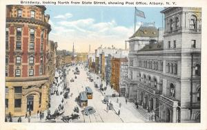 Albany New York~Broadway North @ State Street~Post Office~Trust Co @ Left~1920s
