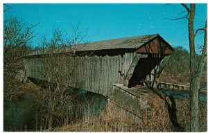 Postcard - Brownsville Covered Bridge over East Fork, Whitewater River, Indiana
