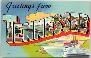 TENNESSEE Large Letter Postcard Riverboat Steamer Asheville Linen c1950s Unused