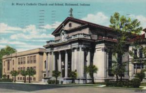Indiana Richmond St Mary's Catholic Church and School 1961 Curteich