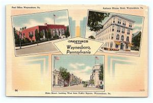 Postcard PA Waynesboro Multiview Buildings of Waynesboro Greetings Linen H04