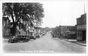 Black River Falls WI Main Street Store Fronts Old Cars 1945 Real Photo Postcard