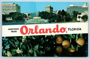 Postcard FL Banner Dual View Greetings From Orlando Vintage O12