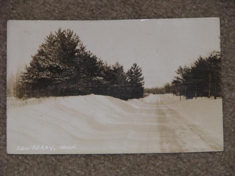 RPPC, Winter Scene, Newberry, Mich., used vintage card