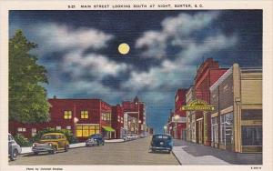 Main Street Looking South At Night Sumter South Carolina