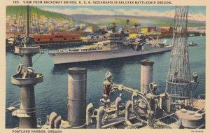 PORTLAND HARBOR, Oregan, 1930-1940s ; U.S.S. Indianapolis salutes battleship ...