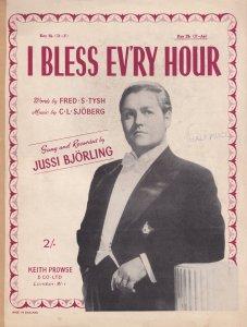 I Bless Ev'ry Hour Jussi Bjorling 1940s Sheet Music