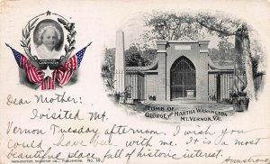 Crossed Flags and Martha Washington, 1898 Private Mailing Card, Used in 1904
