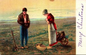 Farming Scene Farmers Praying In Field 1918