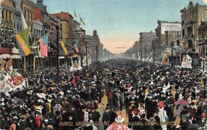 Mardi Gras Pageant, Canal Street, New Orleans, early postcard, used in 1907