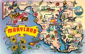 Greetings from Maryland Map Card MD, Chrome