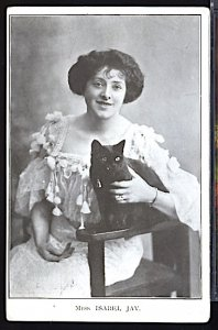Miss Isabel Jay English Theater Actress Holding Her Black Cat