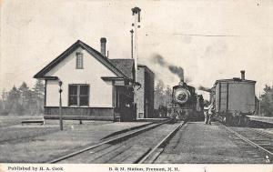 Fremont NH Railroad Station Train Depot Frank Swallow Postcard
