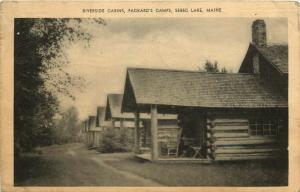 Sebec Lake, ME, Riverside Cabins, Packard's Camps, 1941 Vintage Postcard e6375