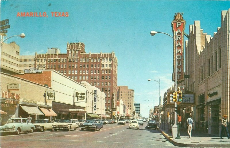 Polk Street in Amarillo Texas TX 1973 Postcard, Blackburn, Levines, Paramount