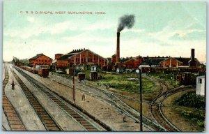 West Burlington, Iowa Postcard C.B.&Q. Shops Burlington Railroad KNOX c1910s