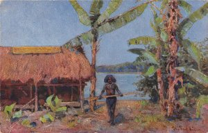 US3403 Kolonialfriegerdanf Native Man Lake Painting Postcard papua new guinea