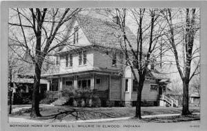 Elwood Indiana~Wendell L Willkie Boyhood Home~1940s Silver Border Postcard