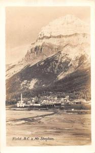 Field BC Canada Mt Stephen Scenic View Real Photo Antique Postcard J79272