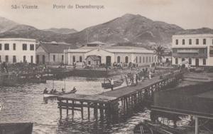 Azores Sao Vicente Ponte Do Desembarque Dock Harbour Portugal Old Postcard