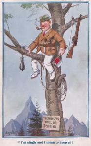 Fox Hunter Blood Sports Peeping Tom In Tree Trespassing Old Comic Postcard