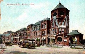 Massachusetts Boston Trolleys At Mechanics Building 1910