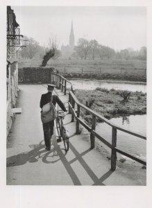 Postman Riding Bicycle at Salisbury Cathedral Award Photo Postcard