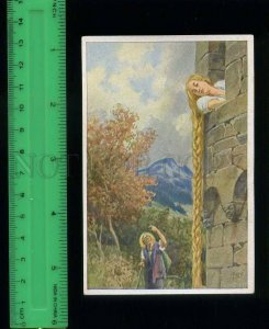 222451 Grimm Tale Rapunzel by Paul HEY artist long hears old Tobacco Card