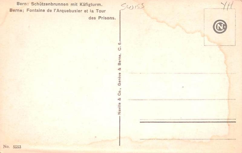 Switzerland Old Vintage Antique Post Card Bern Fontaine de I'Arquebusier...
