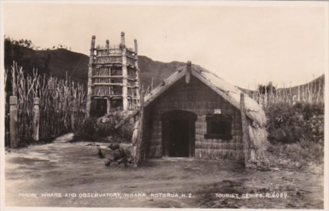 New Zealand Rotorua Whaka Maori Whare and Observatory Real Photo