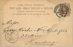Entier Postal Stationery Postal Great Britain Great Britain 1892 London to Ha...
