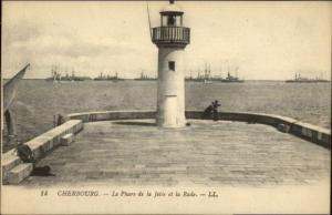 Cherbourg France Jetee et la Rade Lighthouse c1910 Postcard