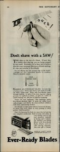 1927 Ever Ready Blades Dont Shave with a Saw Vintage Print Ad 3924