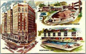 1950s Syracuse, New York Postcard HOTEL SYRACUSE / Northway Inn / Country House