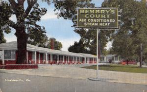Hawkinsville Georgia~Ruth Bembry's Motor Court~Roadside Motel~1950 Linen PC