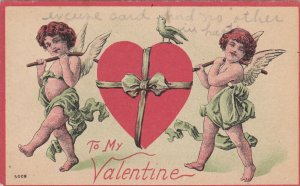 VALENTINE´S DAY; PU-1912; Two Angels Carrying A Big Heart, To My Valentine