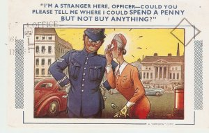I'm stranger here, Officer- Could you... Bamforth Comic Series postcard # 687