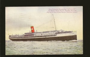 Postmarked 1922 Los Angeles Calif. Steamship AVALON Catalina Island Postcard