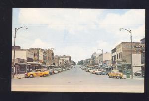 MCCOOK NEBRASKA DOWNTOWN HARRIS AVE. STREET SCENE OLD CARS POSTCARD NEBR.