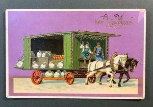 Dresden Gilt Horses Pulling Wagon Man Whip New Year Embossed Gel Postcard