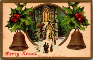 Postcard A Merry Christmas - Bells Church Gold - Vintage - PC Posted