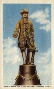 William Penn Statue Philadelphia PA Unused