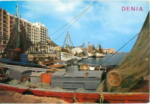 Denia Spain  Fishing Port Equipment Nets Ocean Coast Harbor  Postcard  # 7333